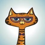 Cartoon hipster cat. — Stock Vector #36480631