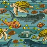 Pattern with underwater creatures. — Stock Vector #39747465