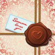 Stock Vector: Wax seal with heart. Card of Valentine's day.