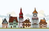Set of cartoon houses. — Stock Vector