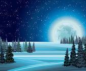 Naturaleza del invierno con la luna llena. — Vector de stock