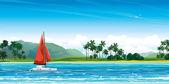 Yacht with res sail and tropical landscape. — Vecteur