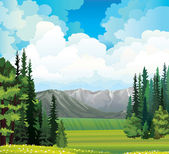 Nature landscape with field and forest. — Stock Vector
