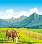 Krowy i zielony łąka. — Wektor stockowy