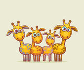 Cartoon giraffes family. — Vecteur