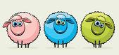 Three cartoon sheeps. — Stock Vector