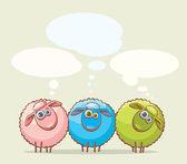Three cartoon sheeps. — Vecteur