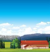 Paysage rural avec maison. — Vecteur