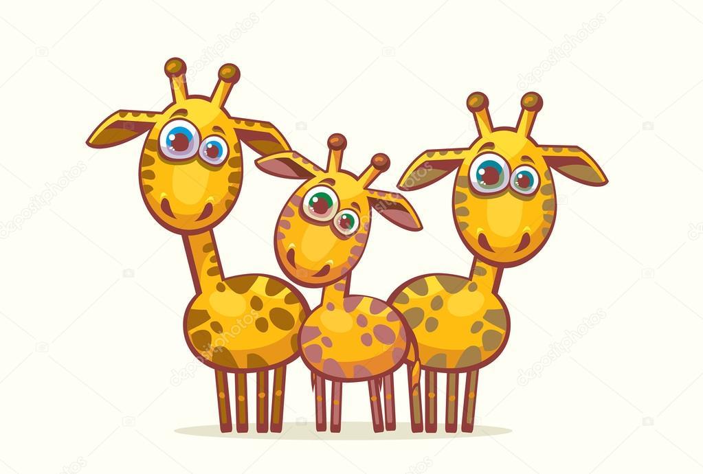 Dibujos Animados De Jirafas. Familia Animal