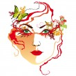 Royalty-Free Stock Vector Image: Woman&#039;s face, red