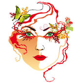 Woman's face, red — Stock Vector
