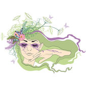 žena se zavřenýma očima — Stock vektor