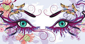 Eyes with floral designs — Stock Vector