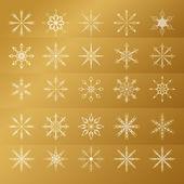 Set of golden snowflakes — Stock Vector