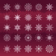 Stock Vector: Set of snowflakes vinous background
