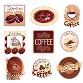 Set of logos for coffee, brown — Stock Vector