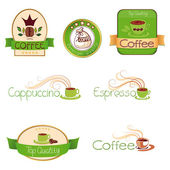 Set of logos for coffee, green — Stock Vector