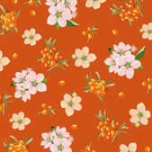 Background of sea buckthorn and flowers — Stock Vector