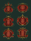 Set of red and gold frames — Vector de stock