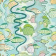 Seamless pattern of a colored fishes — Stock Vector