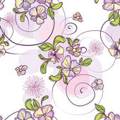 Pattern of purple flowers with circles — Stock Vector