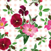 Seamless pattern, bouquet of pink roses and purple pansy — Vecteur