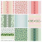 Seamless patterns of the roses and leaves, set — Stock Vector