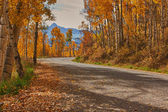 Road to the mountains in fall — Stock Photo