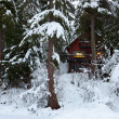 Cabin in Snow — Stock Photo