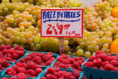 Raspberries at Farmers Market — Stock Photo