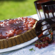 Fruit cake on a table in the garden — Stock Photo