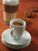 Espresso and Latte Macchiato — Stock Photo