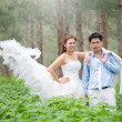 Asian couple with pre wedding — Stock Photo