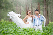 Asian couple with pre wedding — Stock Photo