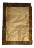 Old torn Wood, paper board. bag texture isolated on white. — Stock Photo
