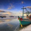 Fishing boat on the huahin beach, Thailand - Stock Photo