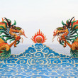 Two chinese dragon statue on the clouds. — Stock Photo