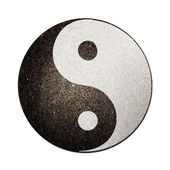 Ying yang symbol of harmony and balance cut and from recycle pap — Stock Photo