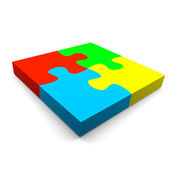 Puzzle cooperation concept — Stock Photo