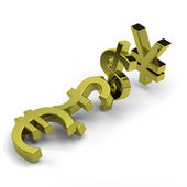 Currency symbols domino effect on white, crisis concept — Stock Photo