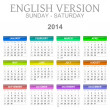 Stock Photo: 2014 calendar english version sunday to saturday