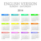 2014 crayons calendar english version sunday to saturday — Stock Photo