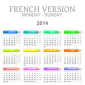 2014 crayons calendar french version — Stock Photo