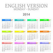 2014 crayons calendar english version monday to sunday — Stock Photo