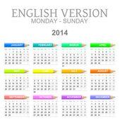 2014 crayons calendar english version monday to sunday — Stock Photo