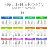 2014 calendar english version monday to sunday — Stock Photo