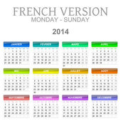 2014 calendar french version — Stock Photo