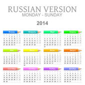 2014 crayons calendar russian version — Stock Photo