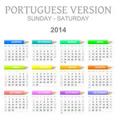 2014 crayons calendar portuguese version — Stock Photo