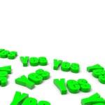 Many Yes English Green Text — Stock Photo